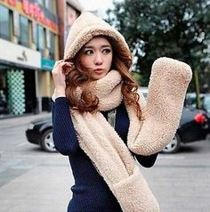 Newest Arrival Women's Winter Fleece Scarf Set 3 In 1 Scarf Hat And Gloves Set