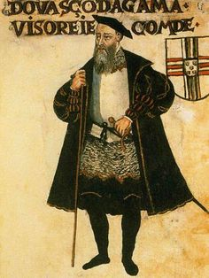 A portrait of Vasco da Gama from a 1565 manuscript.VASCO DA GAMA(c.1460-1524) Portugal.Explorer and navigator.Found direct sea route from Europe to India.