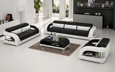 Esofastore Living Room Furniture Contemporary Gorgeous White Black Sofa Set Sofa Loveseat and Chair Bonded Leather Cushion Couch White Furniture, Contemporary Furniture, Living Room Furniture, Furniture Sets, Furniture Design, Sofa Furniture, Italian Leather Sofa, Modern Leather Sofa, Leather Sofa Set