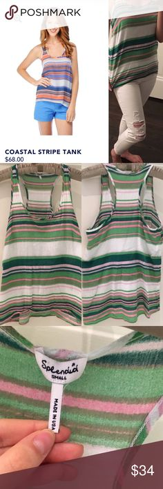 Splendid Coastal Stripe Tank in Lime Green 🎁Offers encouraged & flexible                                                                                🔑Bundle to save                                                                                                   👍Like for price drop notifications                                     EUC, no stains spots or loose threads. Pure cotton, multi width stripe pattern, lightweight and airy fabric, saturated shades, easy drape. SOLDOUT…