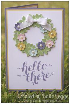 Wondrous Wreath, Hello There (sentiment), Wonderful Wreath Framelits, Boho Blossoms punch, Whisper White Taffeta Ribbon, Pearls