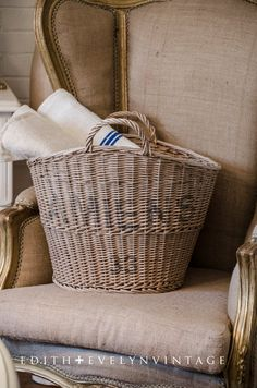 Vintage French Market Basket From France Wicker by edithandevelyn