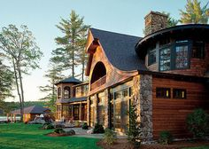 Built by Kenneth Vona Construction; Architecture by Gleysteen Design; Interior Design by SLC Interiors; Landscape Architecture by Gregory Lombardi Design; Landscape Construction by New View, Inc,; Houses Architecture, Beautiful Architecture, Bluestone Patio, Log Cabin Homes, Log Cabins, Cabins In The Woods, Logs, My Dream Home, Dream Homes