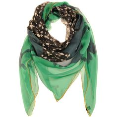 Odeeh Green Multi Scarf Quadriga ($335) ❤ liked on Polyvore featuring accessories, scarves, green scarves and green shawl