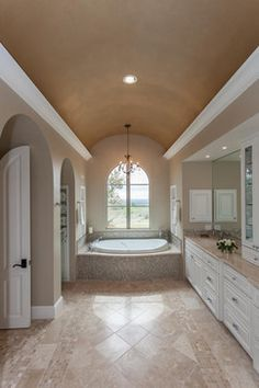 diagonal with small trim on sides. Master Bath - traditional - bathroom - other metro - David Mills Custom Homes