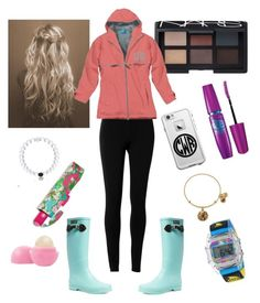 """Rainy dayz"" by carolinel02 ❤ liked on Polyvore featuring Max Studio, NARS Cosmetics, Aigle, Maybelline, LifeProof, Eos, Lilly Pulitzer, Freestyle and Alex and Ani"
