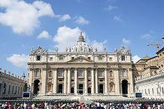 Basílica de San Pedro (exterior). Ciudad del Vaticano. Arquitectos:Bramante, Rafael Sanzio, Antonio da Sangallo el Joven, Miguel Ángel, Carlo Maderno y Gian Lorenzo Bernini. 1626
