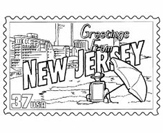 USA-Printables: New Jersey State Stamp - US States Coloring Pages