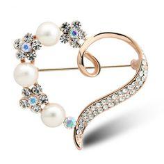 Classic High-Grade Pearl Heart Flower Pin For Women
