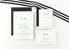 PAPER SAMPLE Kate Simple Wedding Invitation / Save the Date / Black White Wedding / Letterpress Wedding Invitation / Modern Invitation