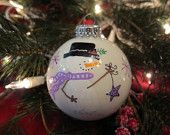 Handpainted Holiday Snowman Ornament