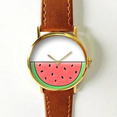Watermelon Slice Watch 3 , Vintage Style Leather Watch, Women Watches, Boyfriend Watch, Men's watch, Summer Pink