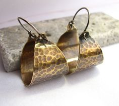 Hammered Bronze Hoops  - Mixed Metal Basket Hoop Earrings - Contemporary Jewelry - Metalsmith Jewelry