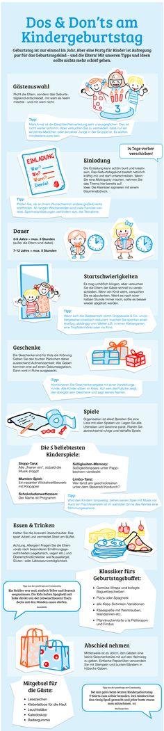 Infografik Tipps für den perfekten Kindergeburtstag - Planung, Einladung, Geschenke und Rezepte