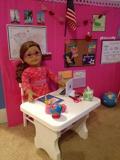 Reader Spotlight - Shelia Badillo's School Set-Up - made from an unfinished wooden step (i.e. stepstool, I'm assuming)