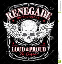 Renegade Winged Skull Graphic Stock Vector - Image: 41371260