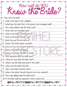How Well Do You Know The Bride Bridal Shower Pink Fun Detailed Cute On Etsy 0 91