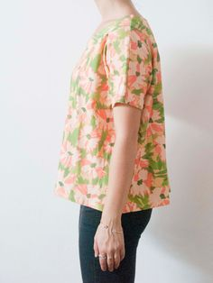 Peach Floral Batwing Tee by leahgoren on Etsy