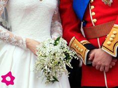"""Kate Middleton surpreendeu ao escolher um bouquet de noiva pequenino e nada suntuoso em seu casamento com Príncipe William. O arranjo era composto por jacinto, lírio-do-vale, fios de murta e uma flor que recebeu o nome de """"sweet William"""""""