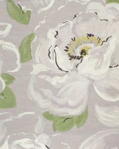 Vanessa Fabric A painterly floral design of large white peonies on a soft lilac background.