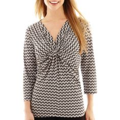 f3e9dfa7570 Liz Claiborne® 3 4-Sleeve Twist-Front Top found at  JCPenney XL Caberet  multi