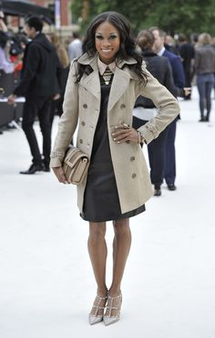 American Athlete Allyson Felix wearing Burberry at the Burberry Prorsum Womenswear Spring/Summer 2013 Show