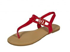 Qupid Womens Archer01 TStrap Slingback Flat Sandal with Side Gold Dcor red leatherette 10 M US ** Check out the image by visiting the link.