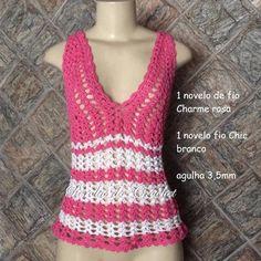 .     Nesse momento da foto 5 você pode fazer mais correntinhas para aumentar o tamanho da blusa. Faça, por exemplo, 10 cor...