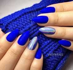 Blue Nail Art Ideas for 2018 - Top 150 Designs - Our Nail - Nails - Nageldesign Blue Matte Nails, Blue Acrylic Nails, Blue Chrome Nails, Blue Nails Art, Neon Blue Nails, Blue Stiletto Nails, Orange Nail Designs, Acrylic Nail Designs, Royal Blue Nails Designs