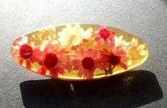 Vintage Alte wunderschöne Schiffchen Brosche Kunstharze Strohblumen  gearbeitet