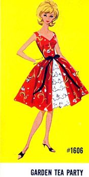 Reminds me of another pattern I saw and that could be done with Silhouettes Run Away Dress. Garden Tea Party ~ Fashion #1606 circa 1964