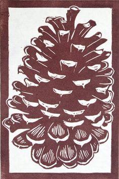 Pine Cone Linocut Relief Print par bleedingheartpress sur Etsy, $10,00