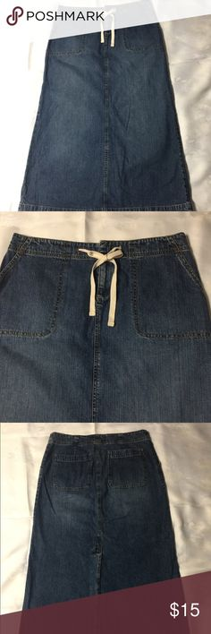 Old Navy Denim Skirt Pencil Med. blue denim,front & back pockets, front tie adjusts waist,kick pleat. Like new. Old Navy Skirts Pencil