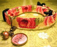 Safety cat collar - Personalized Name Charm - Pet Tag - Cat Tag - Antique Brass - Coral Roses via Etsy