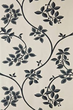 Ringwold (BP 1616) - Farrow & Ball Wallpapers - Ringwold is a meandering, playful tendrils and subtle two-tone leaf motif on a delicate trail. Showing in charcoal black on a soft beige background - more colours are available. Please request a sample for true colour match.