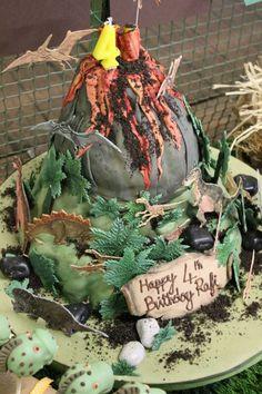Dinosaur/volcano 4th Birthday cake