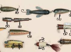 12 pc assortment of Wood Antique Styled Lure Ornaments