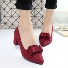 Theme:Fall Heel Type:Chunky Heel Toe Type:Pointed Toe Lining Material:PU Heel Height:Med Shoes Style:Slip-On Upper Material:Suede Gender:Women Accents:Bowknot Chunky Heel Pumps, Ankle Heels, Suede Pumps, Pointed Toe Pumps, Women's Pumps, Blue Pumps, Red Heels, Fall Heels, Fashion Shoes