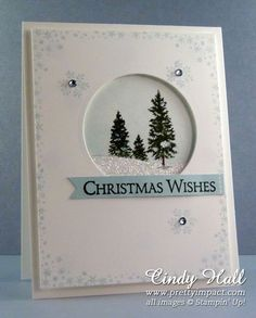 Sweet & simple - die cut circle and some stamping on one piece of card, adhered on a base card with stamped trees and some glitter. Instructions & sketch here: http://prettyimpact.com/christmas-wishes-with-happy-scenes/
