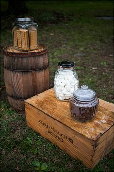 s'mores station.....always a delicious addition to any party. I LOVE this idea since my wedding reception kind of has a bonfire and bbq planned into it. :)