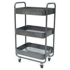 3-Tier Metal Cart with Mesh Trays - Gray - Room Essentials™