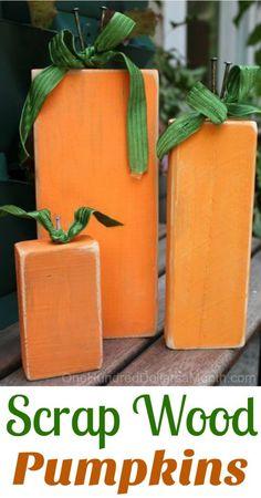 Fall Craft Idea - Painted Scrap Wood Pumpkin - One Hundred Dollars a Month