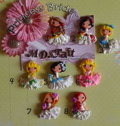 Set of Princess Brides Polymer Clay Charm Bead by KellyBowieDesign, $36.00