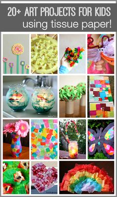 Over 20 Crafts for Kids and Art Projects for Children Using Tissue Paper- including tissue paper flowers, tissue paper trees, tissue paper suncatchers, and more! Tissue Paper Crafts, Tissue Paper Flowers, Paper Crafts For Kids, Crafts To Do, Easy Crafts, Arts And Crafts, Paper Poms, Paper Crafting, Paper Art Projects