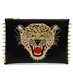 Cmplt Unknwn Leopard Gold Clutch (2.740 RON) ❤ liked on Polyvore featuring bags, handbags, clutches, black, bolsas, gold purse, leopard clutches, animal purse, black handbags and leopard purse