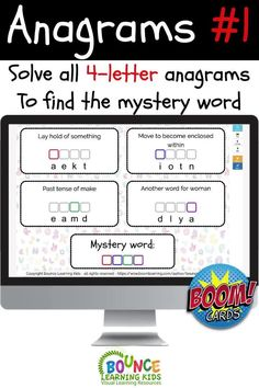 Solve each anagram on the page and use the highlighted letter from each word to find the mystery bonus word.