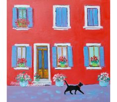 An oil painting of one of the colorful houses on the island of Burano, near Venice. A bright and cheerful talking point for your designer decor! An