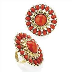 Large Bead Detail Fashion Ring Antique Gold