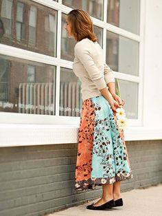 Sew a Simple Six-Gore Circle Skirt - great for when you have smaller pieces of fabric and want a mix-matchy look.