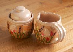 Cream & Sugar Set in Peach, California Wildflowers Tea Accessories, Handmade Stoneware, Giselle No. 5 Ceramics